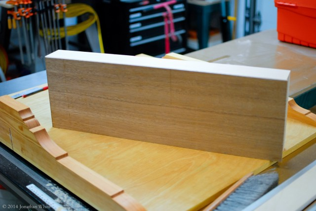 I jointed both edges square to the mahogany face.