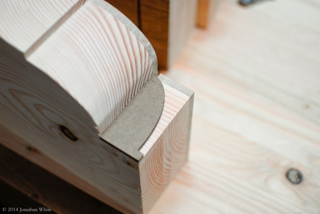 I traced the half template onto the smaller tail vise chops.