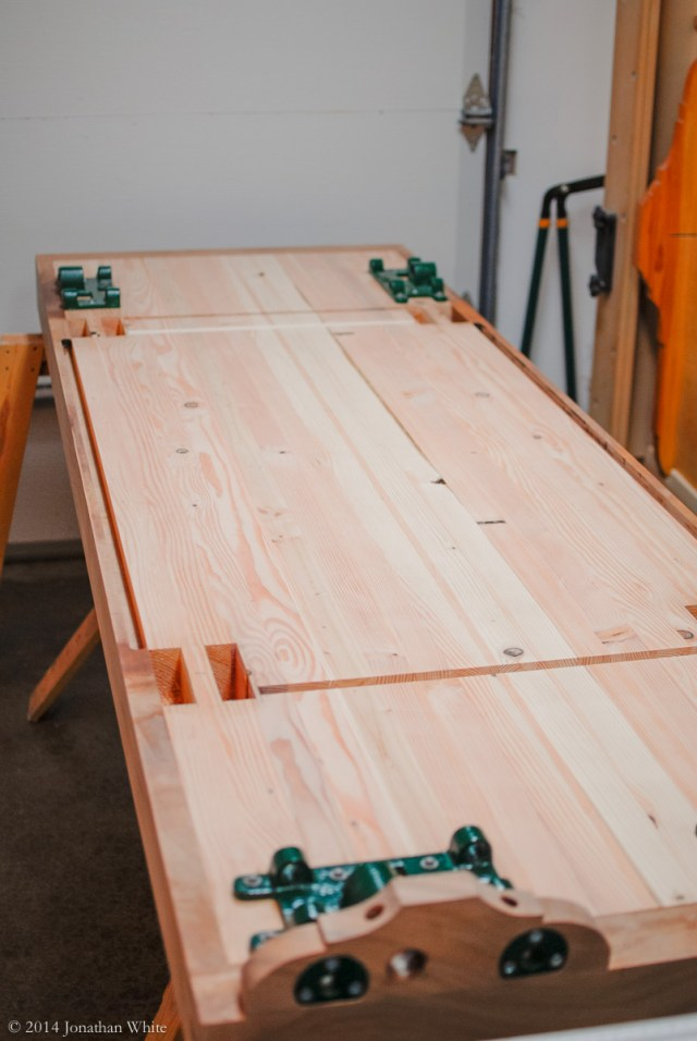 I'll finish the mortises from the other side, but I'll apply finish to the underside of the bench first.