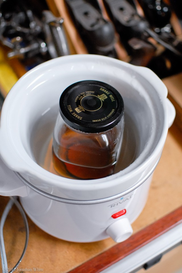 I heated the Danish Oil in a water filled crock pot.