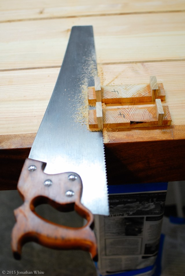 Trimming of the tenons.