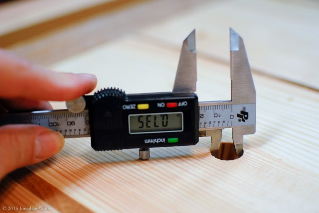 """The ¾"""" Wood Owl Auger bit drilled a hole that only measures 0.735 in."""