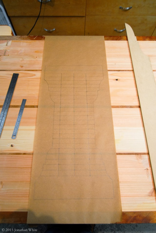 A paper template to locate the holes.