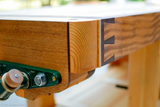 The tail vise mating up with the dovetailed breadboard end.