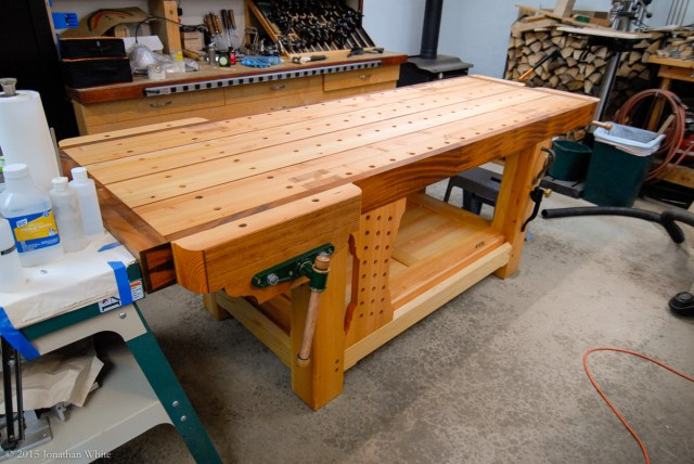 I moved the workbench back into the shop.