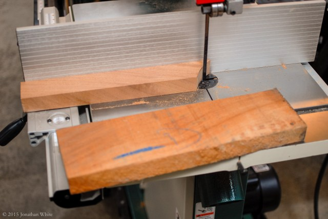 Ripping scrap sapele down to size for turning.