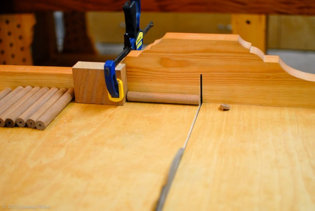 I cut off the other end using my cross cut sled at the table saw.