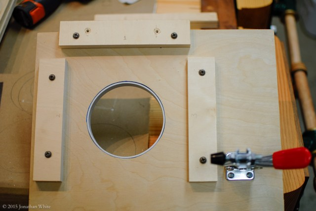I also added a piece of PVC pipe inside the jig. The router bearing will now ride on this.