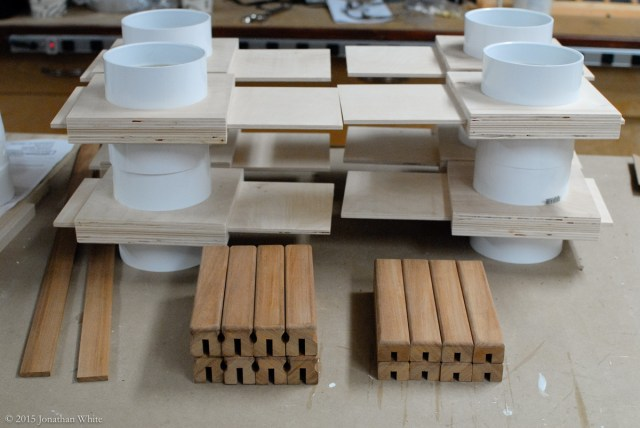 All the Sapele parts hand sanded and ready for assembly.