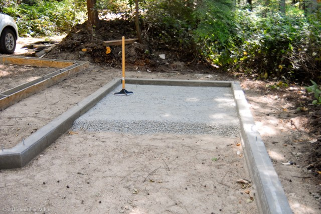 Adding gravel inside the footer.