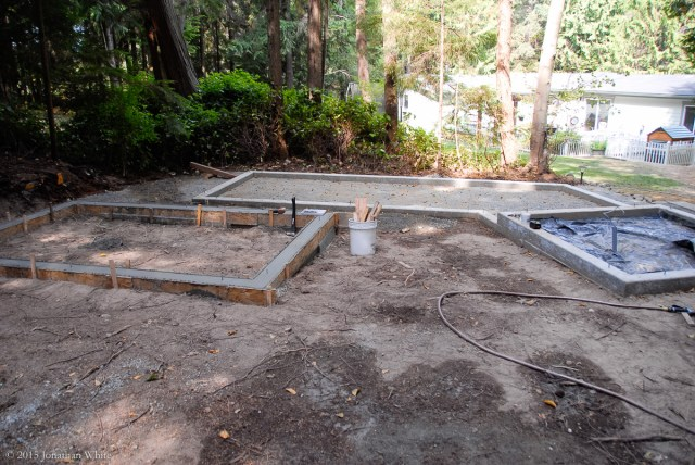 The following day, I started to remove the forms from the woodshed foundation.