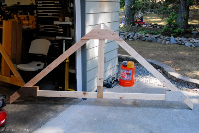 The first completed truss with gusset plates on both sides.