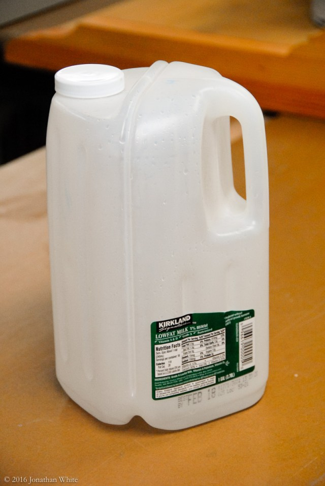 The newer square style milk jugs that we get from our local Costco.