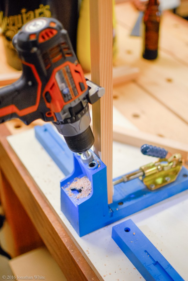 A pocket hole jig made for quick simple joinery.