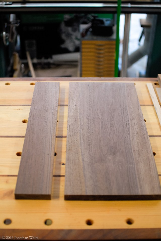 Arranging the two milled boards for best grain match.