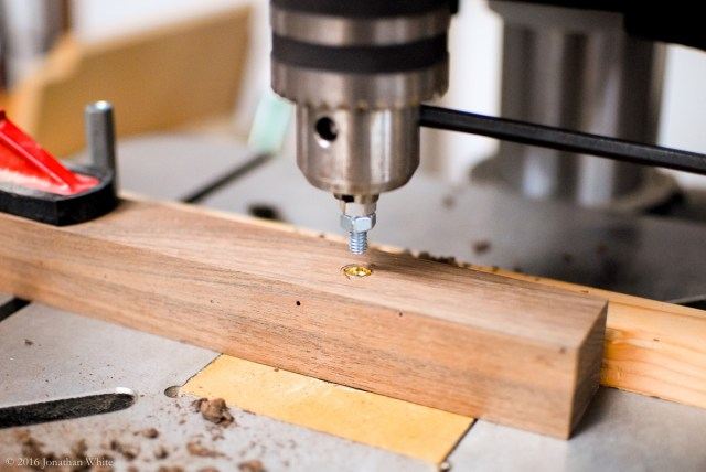 I installed the threaded insert by using slight downward pressure on the drill press handle, while I used a allen key to turn the chuck.
