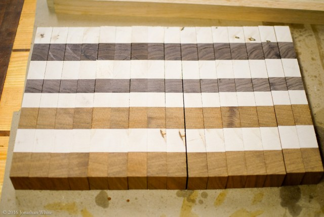 Rotate the cut strips 90° so that the end grain is now facing up.