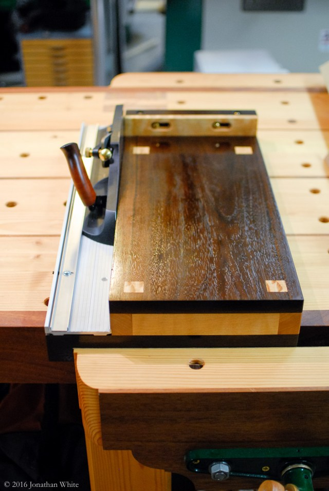 """The """"hook"""" on the back edge of the board also allows the shooting board to be held securely in the face vise."""