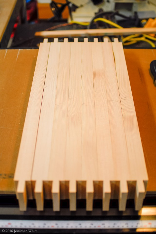 I cut tenons on the cross rails at the table saw.