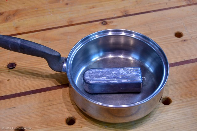 A cheap saucepan from goodwill and a 5lb lead fishing weight.