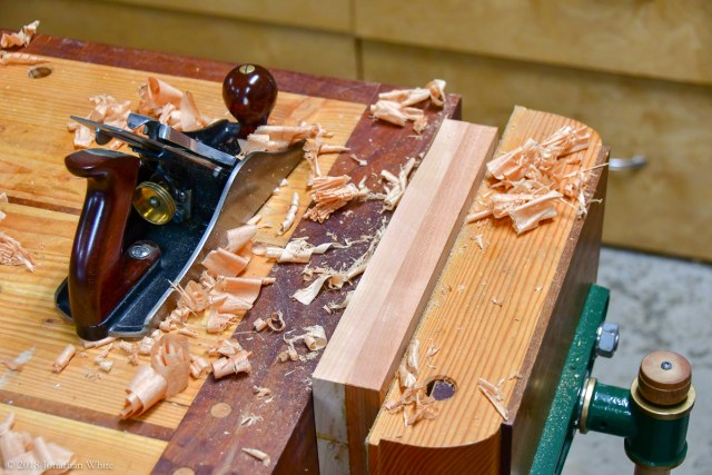 Flushing up the edges with a hand plane.