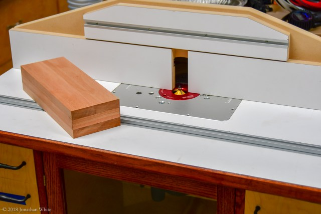 Using the router table to chamfer the corners.