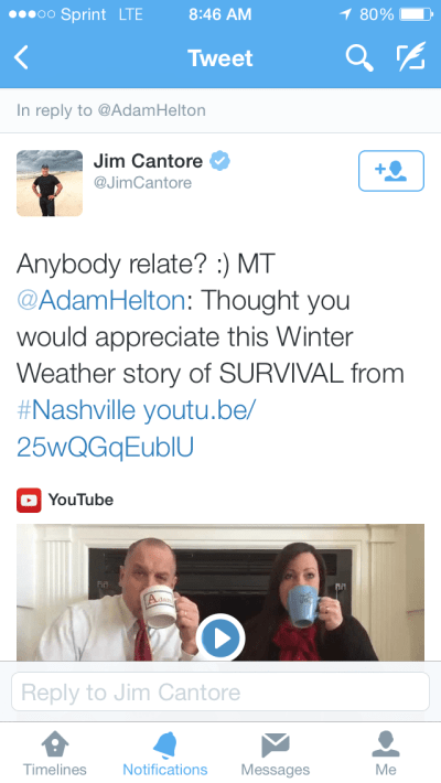 Adam Helton Jim Cantore retweet