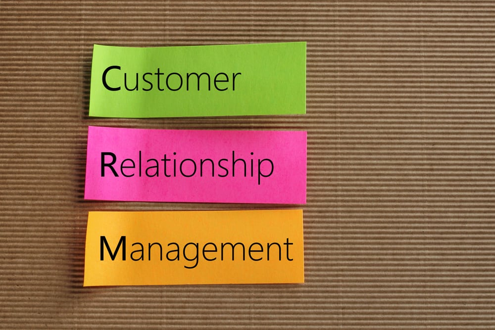 Customer Relationship Management (CRM) text on colorful sticky n