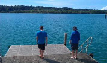 S and N looking out at the water