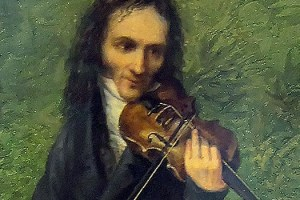 A painting of Paganini playing the violin. Possibly performing one of his violin showpieces.