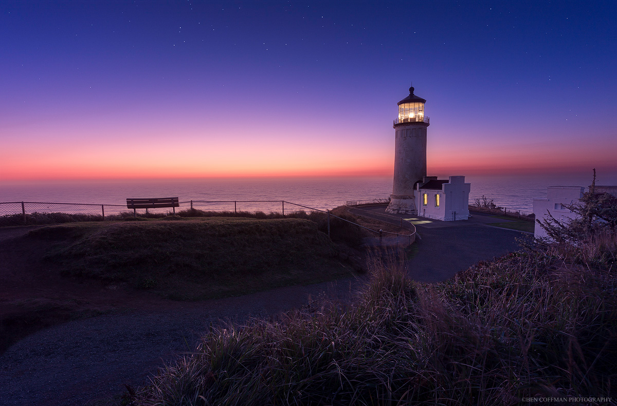 The North Head lighthouse glows at twilight, Cape Disappointment, Washington.