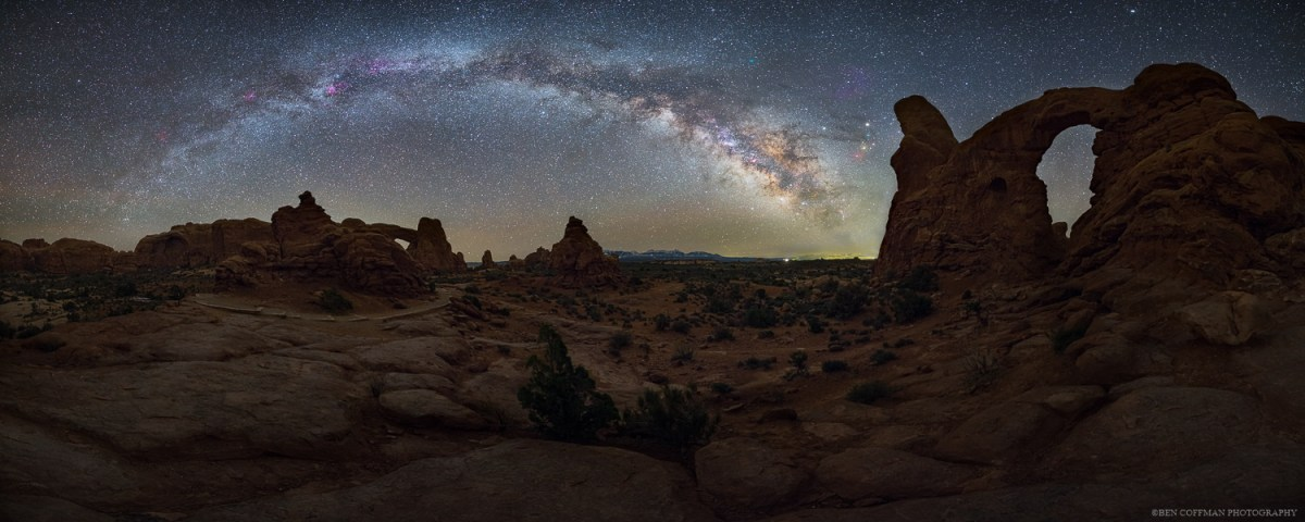 The Milky Way appears over Arches National Park's Turret Arch.