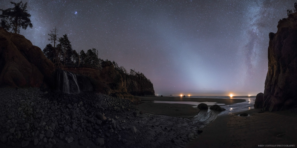 Zodiacal light glows in the night sky off the Oregon coast.