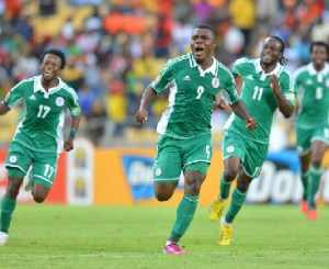 Emenike celebrating after scoring a goal for Nigeria.
