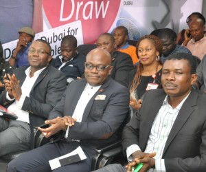 Pix of AWOOF Promo 5: l-r: Head, Brand Management, UBA Plc, Mr. Toruka Osadunkwu; Head, Marketing and Brand Communication, UBA Plc, Mr. Ikemefuna Mordi; Representatives of National Lottery Commission, Mr. Ogbonaya Onu, at the grand draw for UBA Remittance AWOOF Promo to reward customers who received MoneyGram and Western Union money transfer through the Bank, held  in Lagos on Friday
