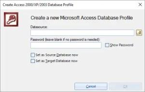 Add Access Database in Bendani Data Migrsator