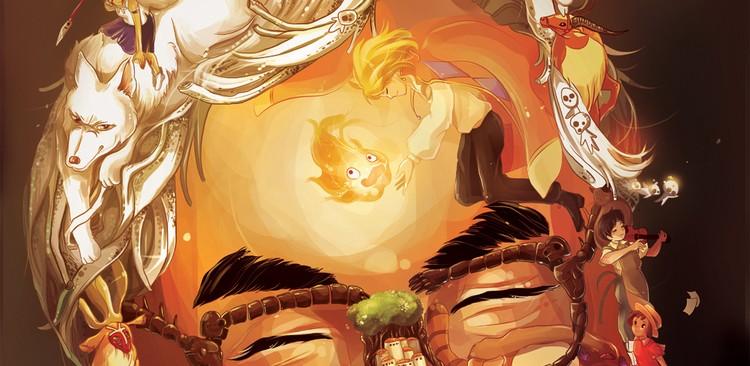 Brilliant Studio Ghibli collage of Hayao Miyazaki