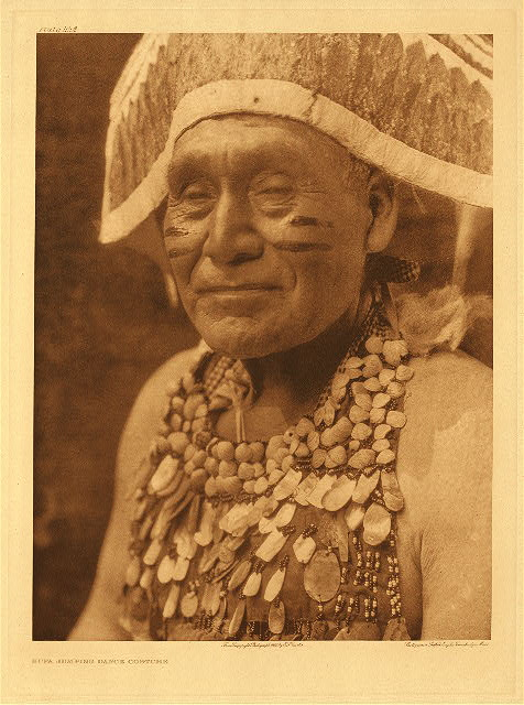 Hupa jumping dance costume by Edward S. Curtis. 1923.