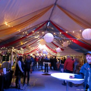 Inside the tents