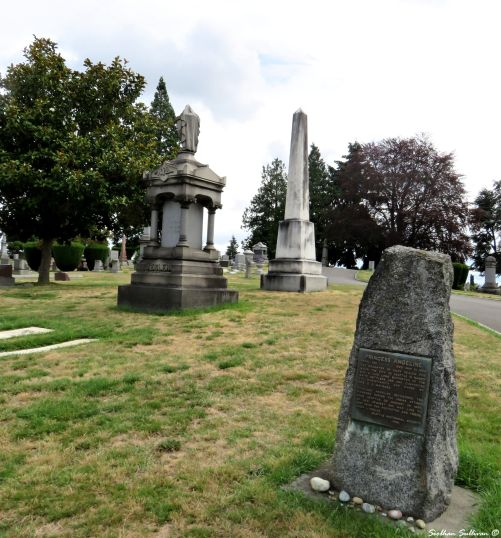 Princess Angeline's gravestone with Yesler memorial in the background 8July2016
