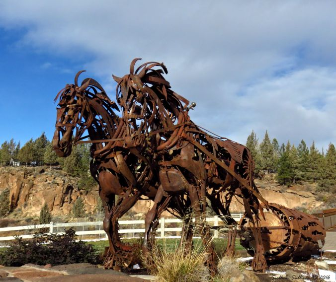 Draft horse outdoor metal sculpture  in Bend, Oregon 4Dec2016