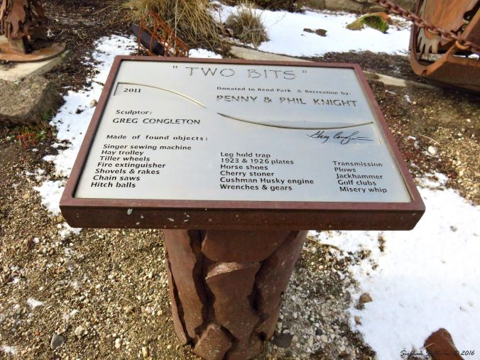 Sign for Two Bits outdoor metal sculpture, Bend, Oregon 4Dec2016