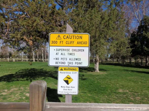 Caution signs at Peter Skene Ogden Scenic Viewpoint 3Apr2017