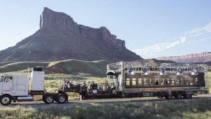 Rail car being filmed for Westworld. Photo by John P. Johnson for HBO.