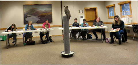 Participants drawing great horned owl at High Desert Museum 20January2018