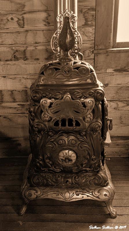 Potbelly stove at St Bridget Church, Fort Rock, Oregon 31May2019