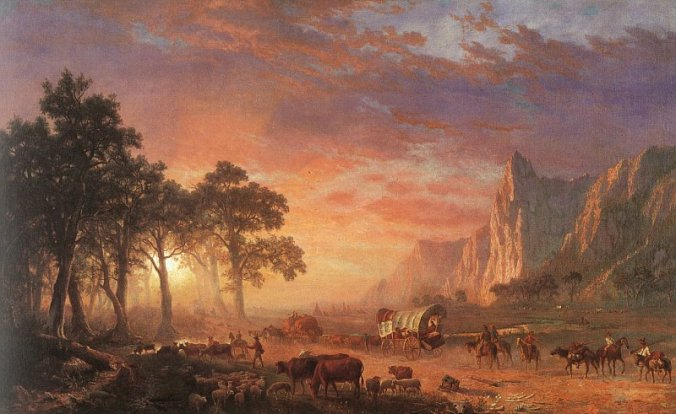 Painting by Albert Bierstadt of the Oregon Trail