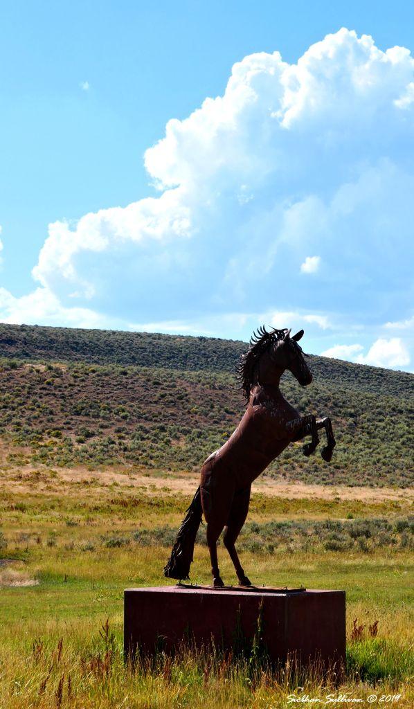 Rearing horse sculpture, Adel, Oregon 2019