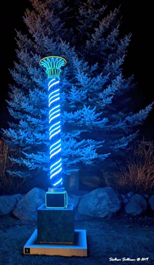 Vertical pole light sculpture at Oregon WinterFest February 2020