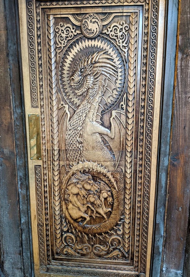 Dragon door, County Antrim, Northern Ireland 29 February 2020